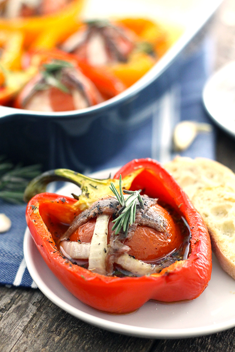 tomato garlic stuffed peppers