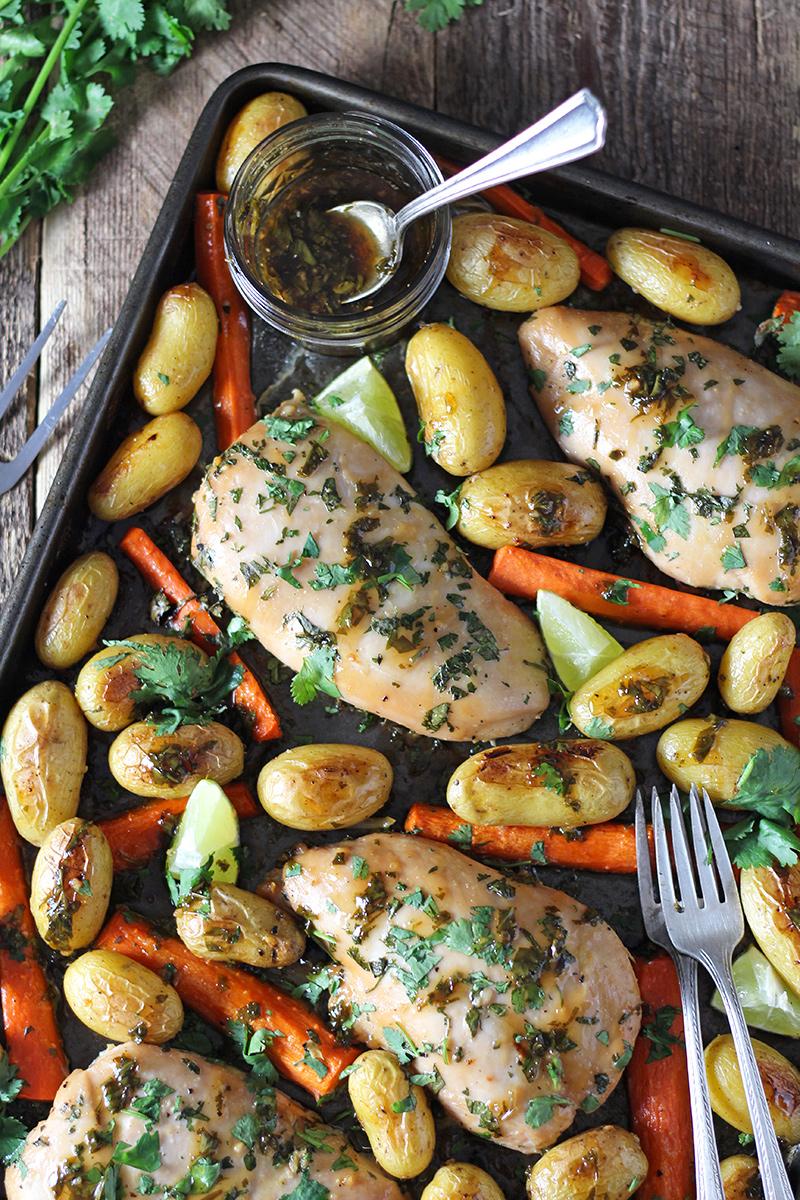 Honey Lime Cilantro Chicken Sheet Pan Dinner