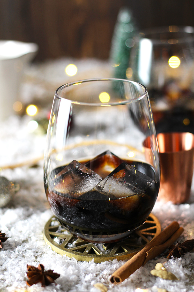 Classic White Russian spiced up with a homemade coffee and chai syrup. The ultimate holiday drink that everyone will love.