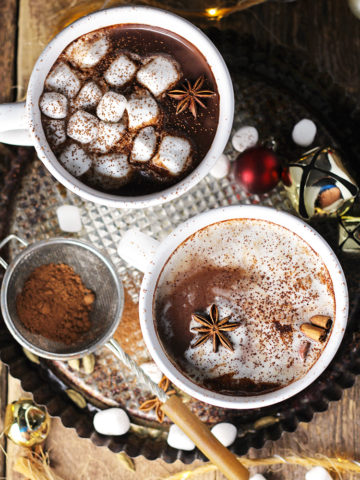 Hot chocolate infused with all the flavors of a vanilla chai latte, making it perfect for sipping on a cold winter night.
