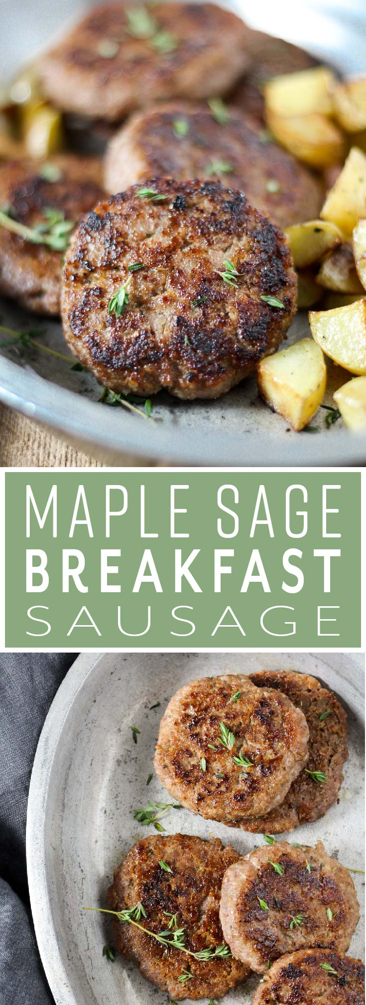 Maple Sage Breakfast Sausage is better than any breakfast sausage you can buy at the store! It's super easy to make and uses real ingredients you can feel good about eating. You just need ground pork, real maple syrup, and seasoning that you likely already have in your kitchen.