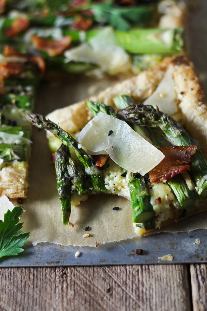 three cheese, asparagus, and bacon tart closeup