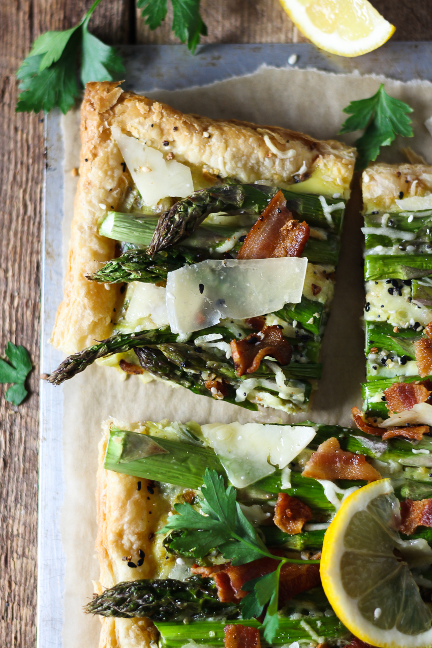 sliced three cheese, asparagus, and bacon tart