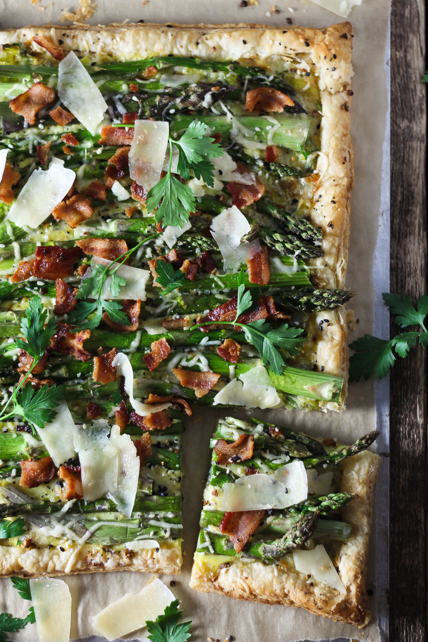 slice three cheese, asparagus and bacon tart