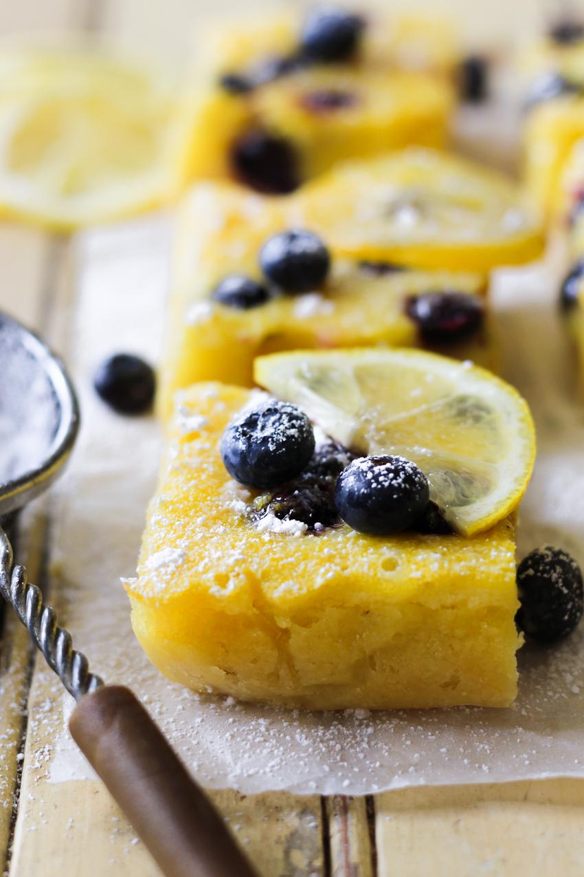 side angle of blueberry lemon bars