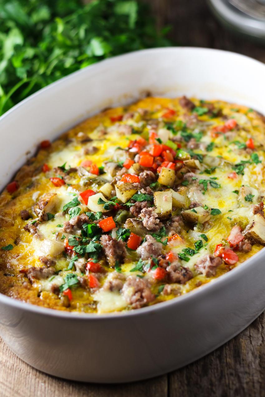 breakfast egg casserole in pan