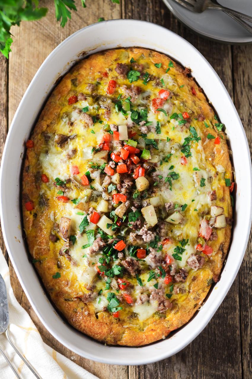 overview shot breakfast casserole in baking dish