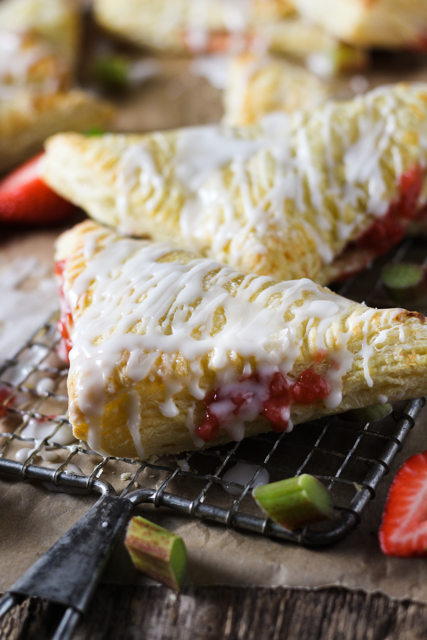 strawberry rhubarb turnover close-up