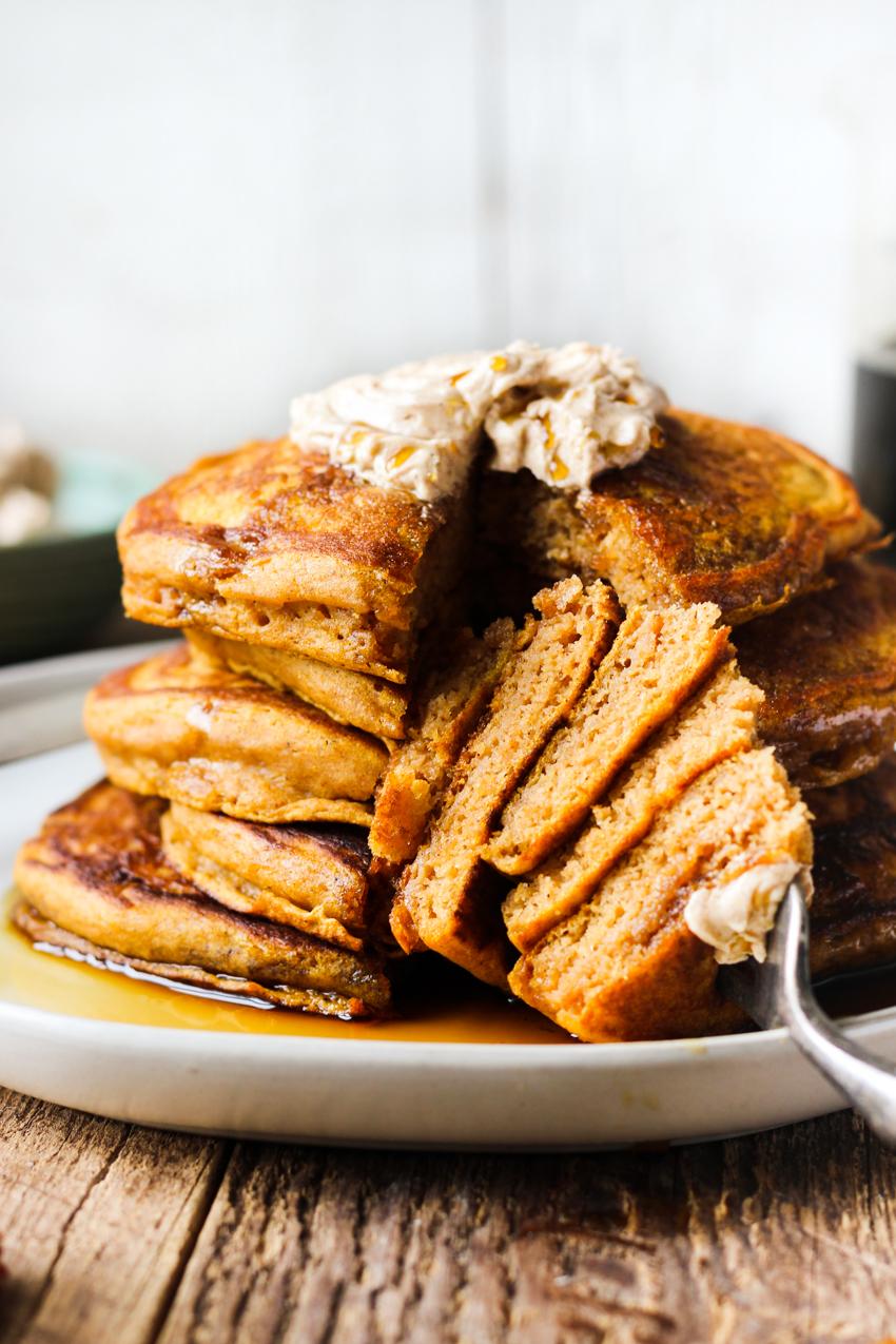 Fluffy pumpkin pancakes with cinnamon honey butter