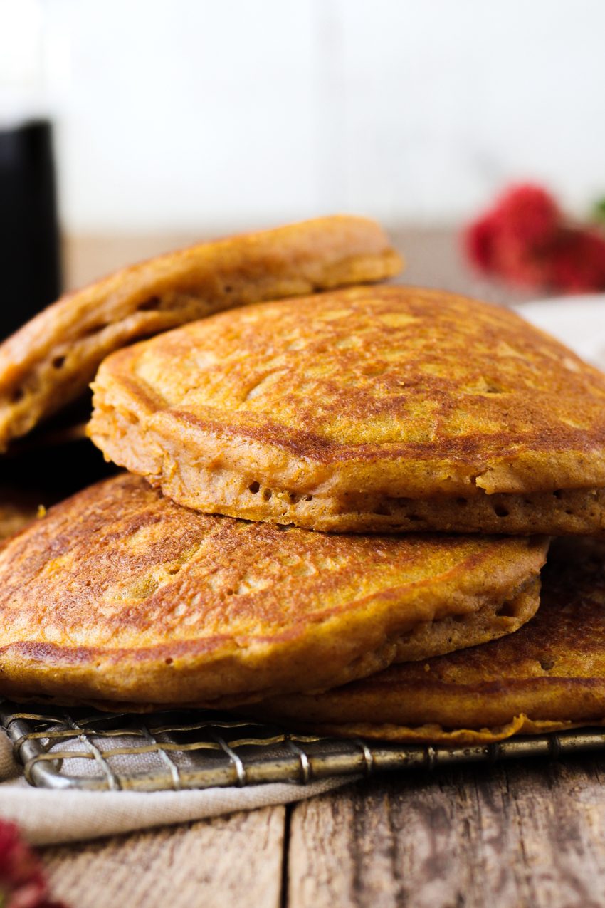 Freshly cooked fluffy pumpkin pancakes