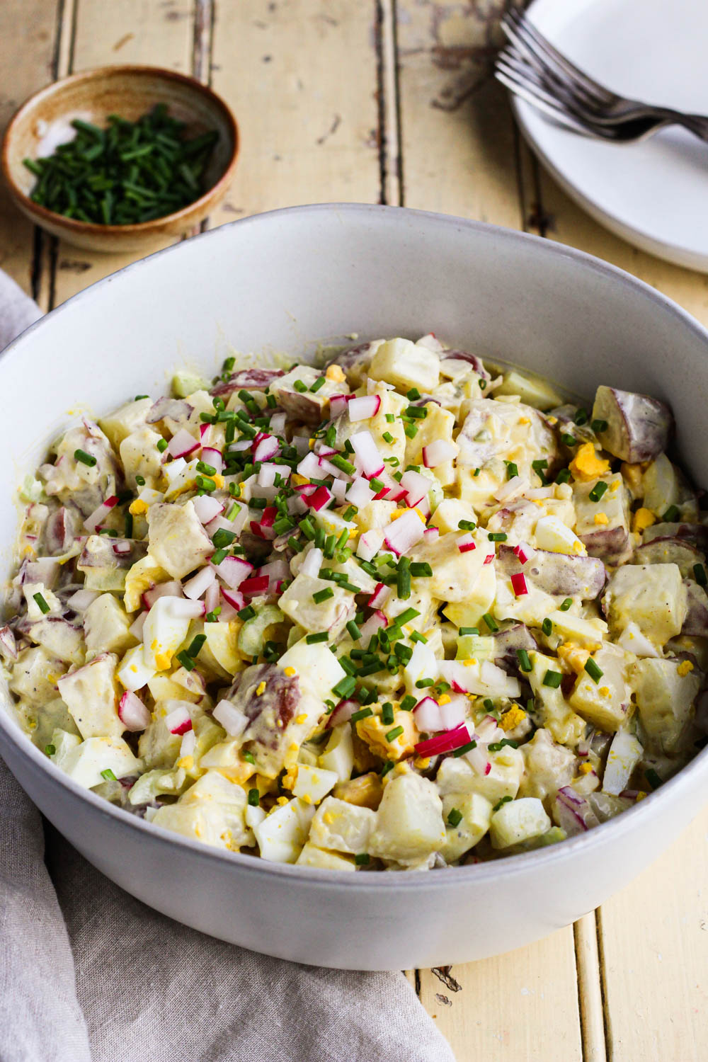 Best classic potato salad in a serving bowl