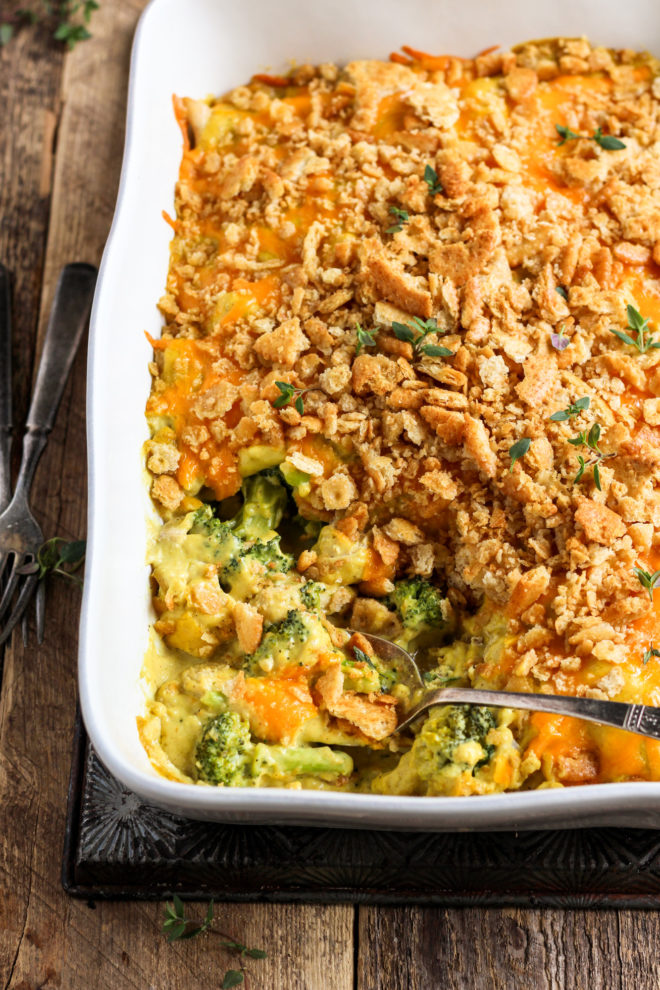 curry chicken and broccoli divan in a casserole dish
