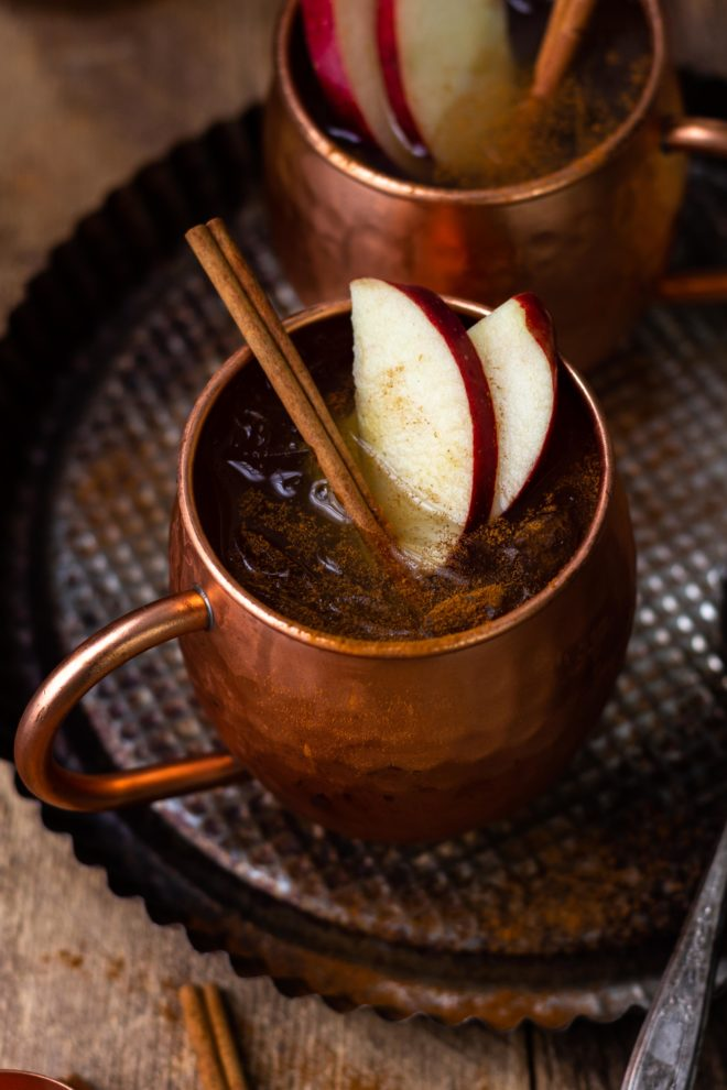 spiced apple cider moscow mule in copper mug