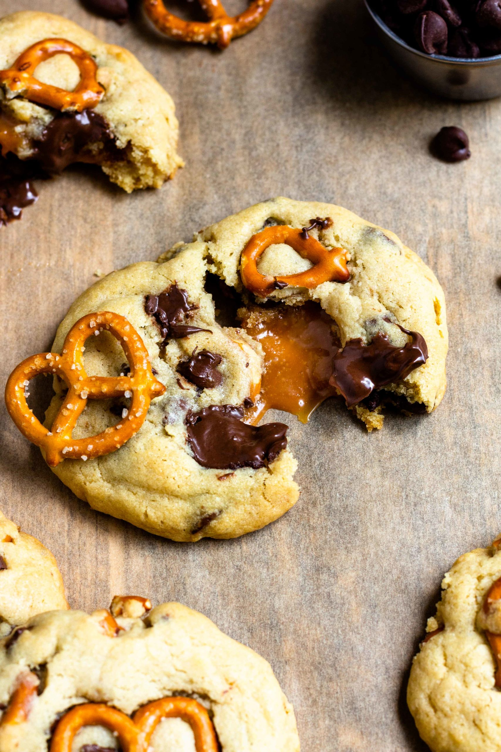 caramel filling in a pretzel chocolate chip cookie