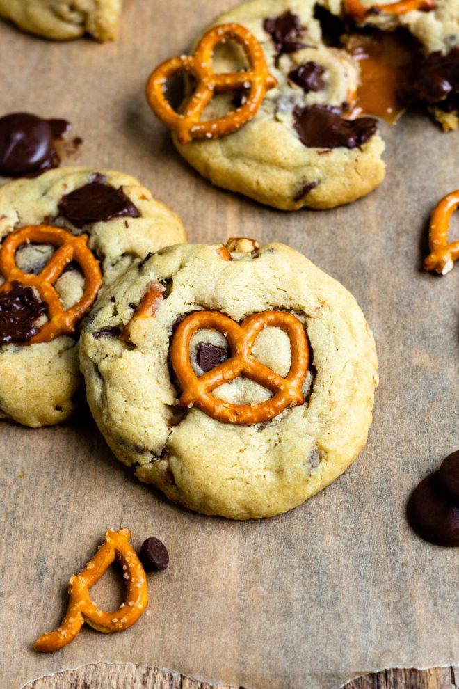 chocolate pretzel chocolate chip cookies