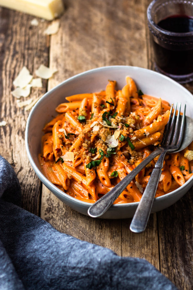 penne all vodka with parmesan cheese