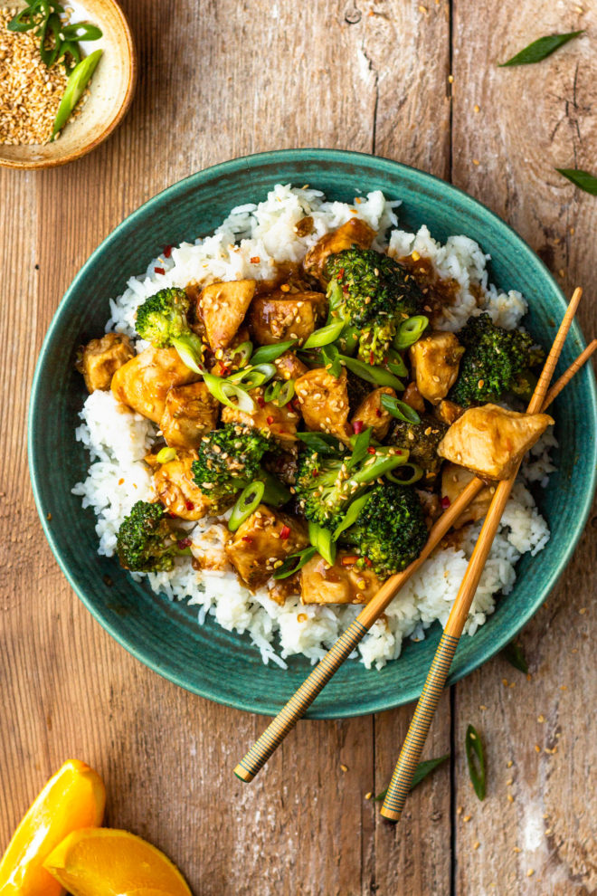 spicy orange chicken and broccoli over rice