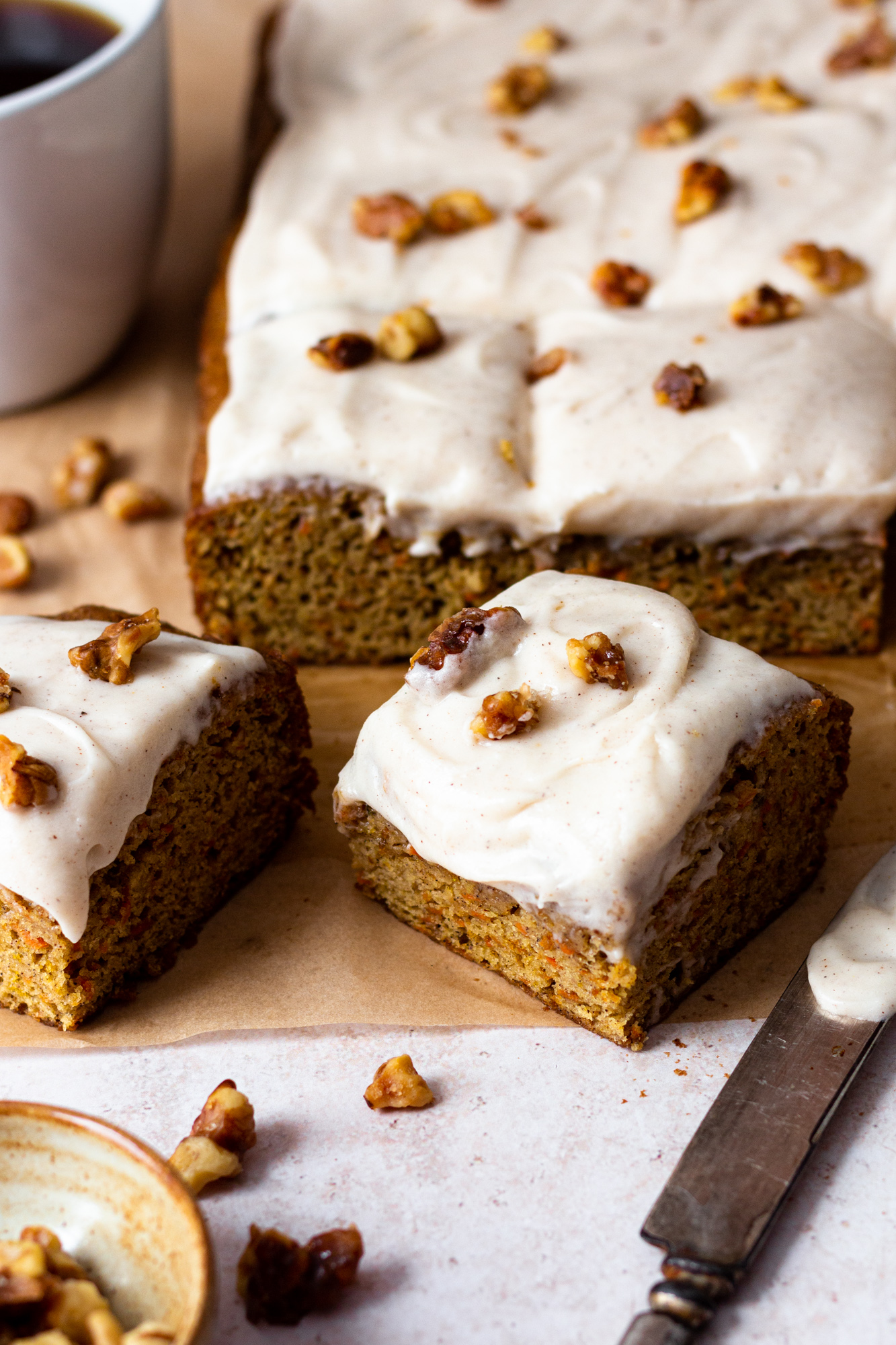The BEST carrot cake that is perfectly spiced, has a moist crumb, and is topped with velvety smooth chai spiced cream cheese frosting that is incredibly delicious and takes this carrot cake to another level!! The cake is easy to make with a few additional chai spices and can be prepared ahead of time. It's sure to impress!