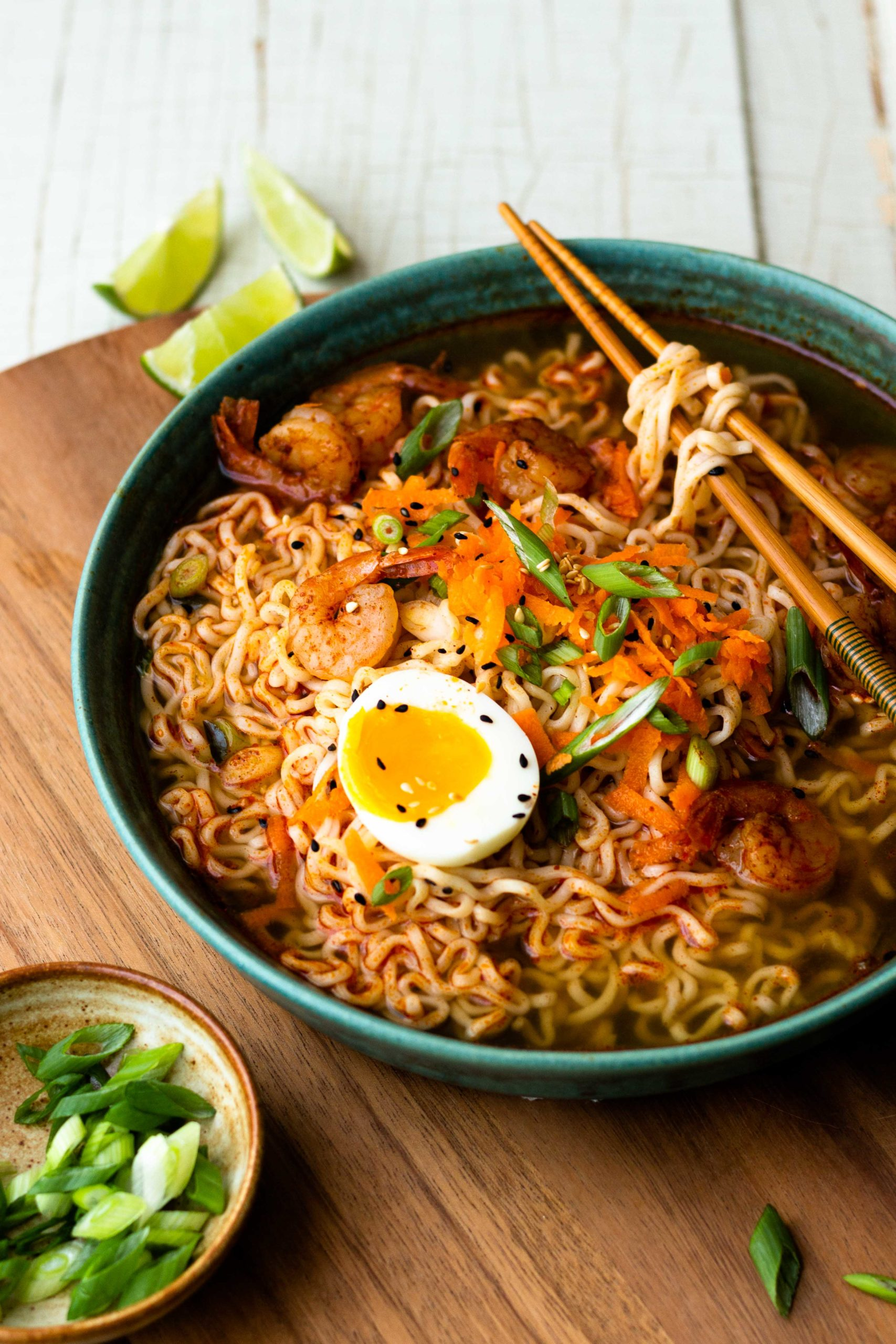 Homemade ramen noodle soup that is all made in one pot and ready in 30 minutes. Made with delicious chili lime seasoned broth, shrimp and lots of ramen noodles. A little spicy and so so good!!