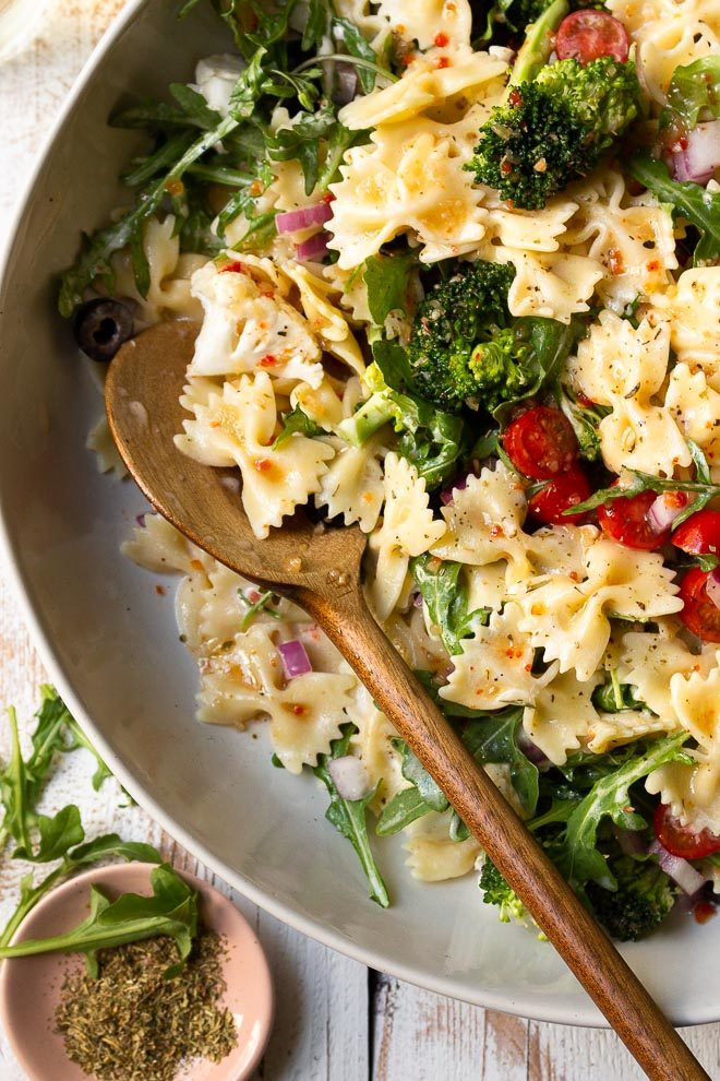 pasta salad in serving bowl