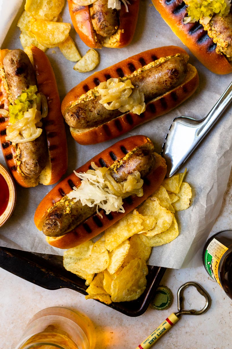 brats in buns fresh off the grill