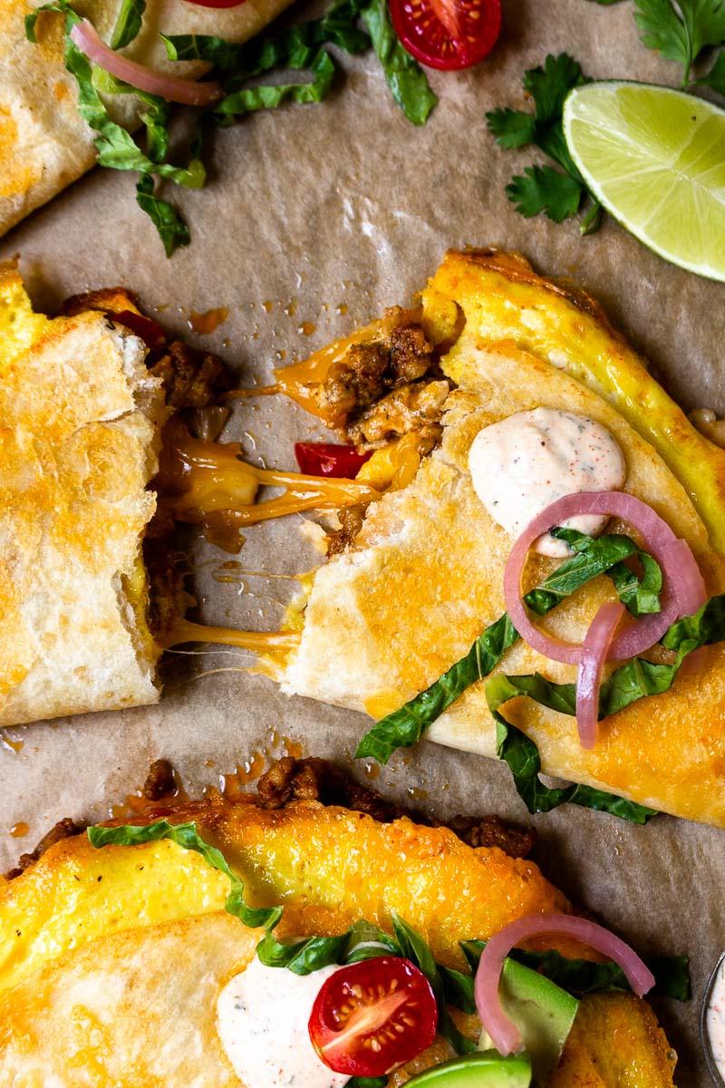 quesadilla breakfast taco tore in half