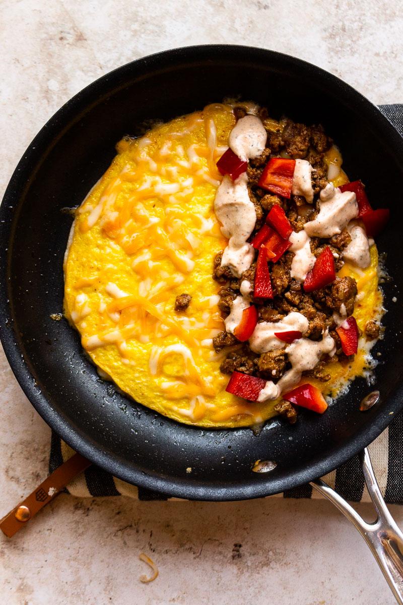 breakfast sausage filling over egg