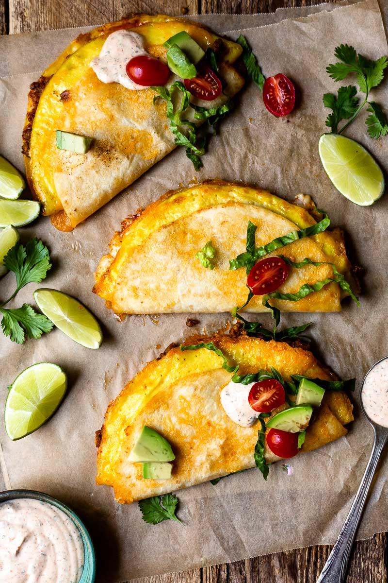 quesadilla breakfast tacos with toppings