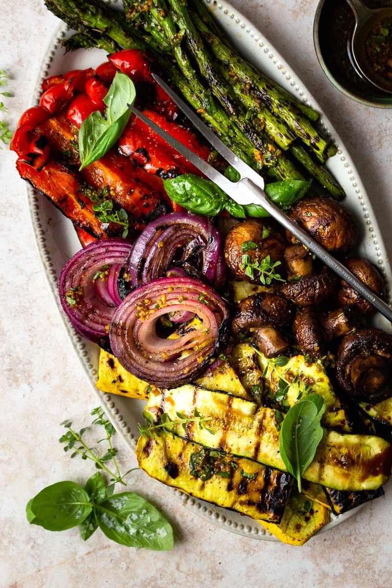 grilled vegetables on a serving platter