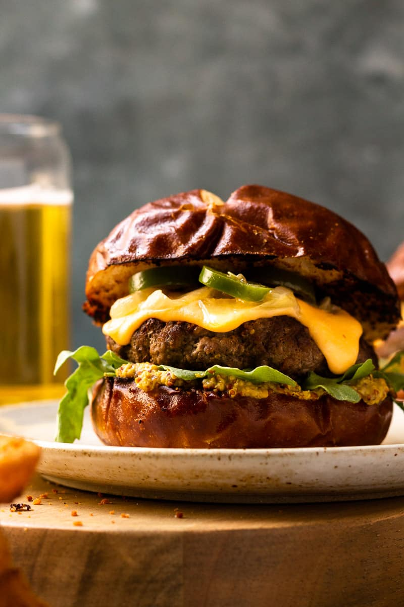 burgers with beer cheese sauce