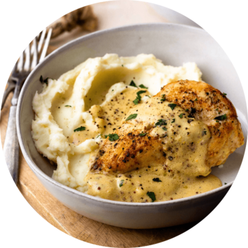 chicken breast with creamy dijon sauce and mashed potatoes