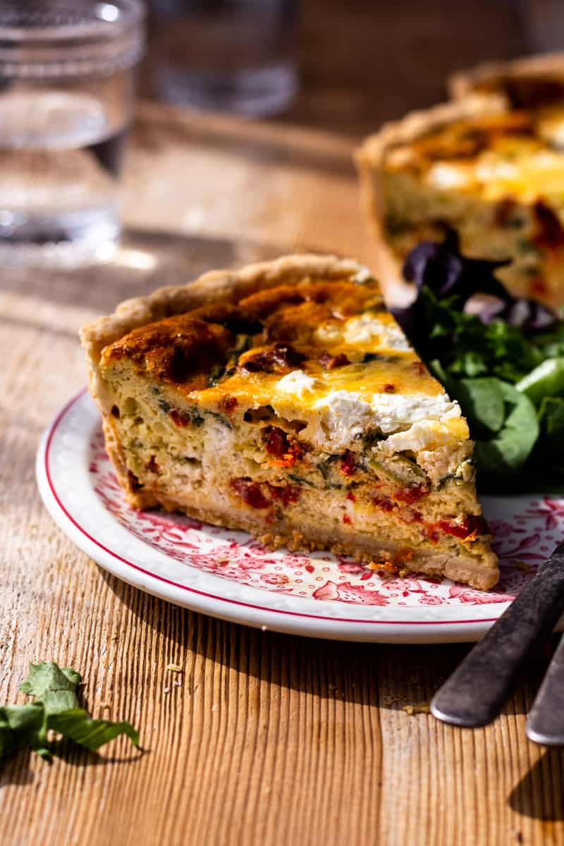 deep dish quiche on a plate