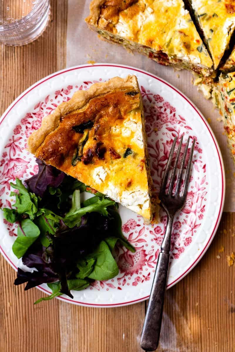 leek, sun-dried tomato and goat cheese quiche