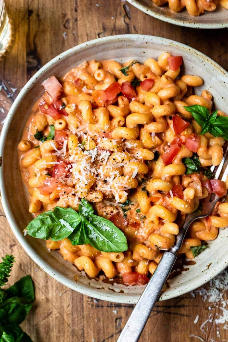 basil pasta in a bowl