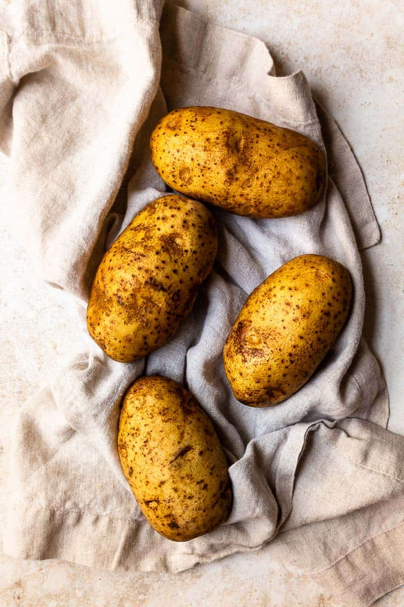 washed russet potatoes